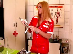 Salty nurse with amazing body pisses in wine glass