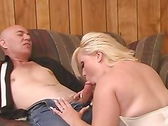 Chunky blonde gets her huge tits splashed