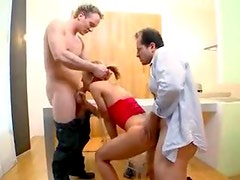 Teen with two guys that fuck the hell out of her