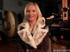 Sexy blonde Angela Winters fists her asshole in hot BDSM clip