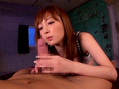 Pretty Japanese girl sucks a cock and gets fucked in POV video