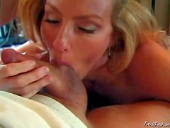 Turned on lusty ball sucking blonde house wife with huge