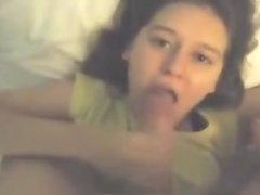 Amateur girl eats cum from the plate
