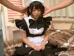 Japanese maid gives a hot blowjob after getting her pussy toyed