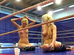 Antonya and Sophie Moone thrown into a boxing ring and the loser gets her pussy fingered