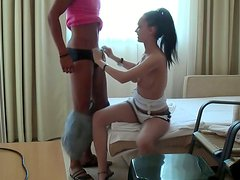 Brunette girl is giving an awesome blowjob and getting poked in a missionary position