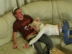 Blond Russian hussy gives a head in wild group sex orgy