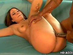 Cute black chick fucked in the ass by black cock