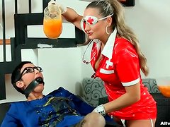 Bound and gagged girl has mess poured onto her