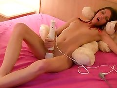 Lovely Lola toys on her teddy bear