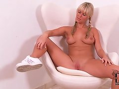 Nude pigtailed blonde Sandra Hill near Spicy titties