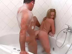 Young blonde has great sex in bath