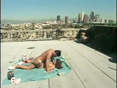 Rooftop fuck on a blanket with a babe