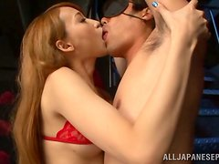 Claire Hasumi the hot Asian in red lingerie rides a dick