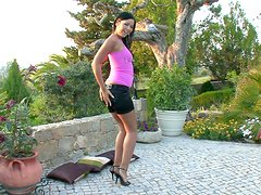 Klaudia destroys her pussy with a realistic dildo outdoors
