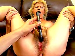 Blonde slutty granny Effie gets her snatch pounded hard after an amzing tittyfuck
