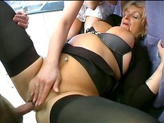 Filthy minded whores Christina and Silvia are fucking actively in a hardcore threesome