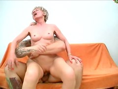 Skinny granny Rosalie is riding a hard cock and later getting nailed brutally in a doggy position