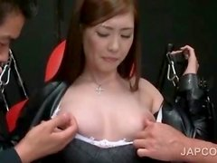 Asian sex slave in fishnets cunt teased in 3some