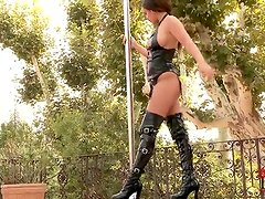 Awesome pole dancer Linet in high boots