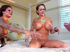 Cock hungry black haired slut Bonnie Rotten covered in tattoos