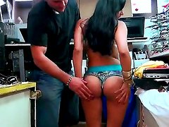 Nadia Lopez getting dirty with Jmac in the shop and showing her awesome butt on camera.
