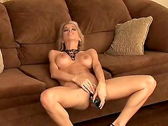 Gorgeous lady with lovely necklace Angie Savage introduces her magnificent pussy show. She