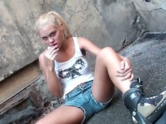 Cum hungry blond nympho Ivanka plugs a fat dick in her small mouth