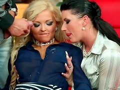 Piss gushing all over cute chicks in a threesome