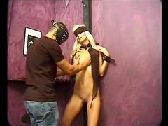 Skinny blonde with itty bitty boobs is bound