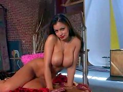Attractive on of a kind brunette bombshell Aria Giovanni with