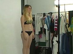 Chunky blonde slut gives a head in POV