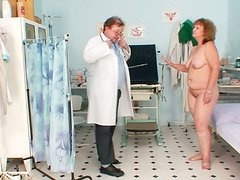 Obese pallid old slut Ariana gets her pussy tickled by horny gynecologist