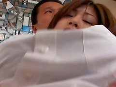 Sweet girlie Nana Masaki plays with her boobs with a hope to win a dick