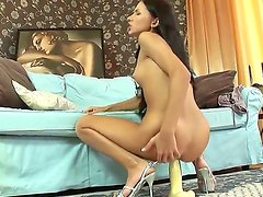 Amazing solo scene with remarkable virgin curve Sasha Rose. She uses the gigantic white dildo