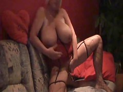 Enormous boobs on the amateur toy slut