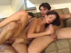 They gape her asshole during a DP