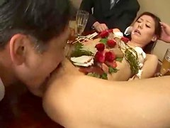 Asian hottie sucks two dicks and gets her vag fucked and creampied