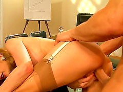 Adorable and dazzling blonde whore Danny Mountain revealing her huge breasts and doing a splendid