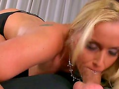 Hot and playful businesswoman Kathia Nobili stays in black stockings and starts fooling around