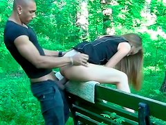 Frisky Russian slut Albina gets pounded in park during daytime