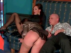 Ladies in stockings and pantyhose take his dick