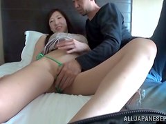 Japanese beauty takes a cock in her tight pussy