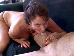 Horny old bitch Vanessa Videl gives blowjob topless. Mature guy