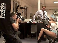 Incredibly hot blonde stewardess Jenny having fun