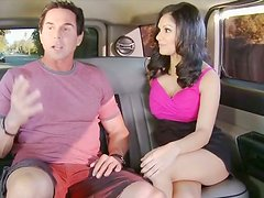 Gorgeous and sexy brunette wins a dick for a stout blowjob in the car