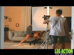 Porn behind the scenes with ladies in stockings