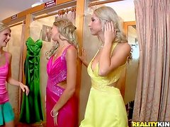 Attractive young slender blonde dolls with arousing make up and