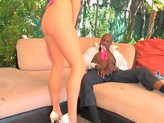 Kinky black daddy eats soaking silky pussy of divine blondie