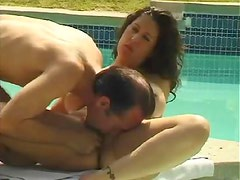 Hot foreplay poolside and sex indoors